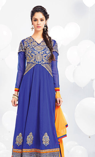 Embroidered Party Wear Anarkali:atisundar resplendent Blue embroidered Party Wear Anarkali - 7014 - atisundar - 4 - click to zoom
