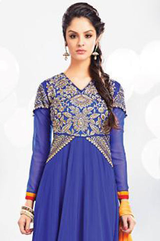 Embroidered Party Wear Anarkali:atisundar resplendent Blue embroidered Party Wear Anarkali - 7014