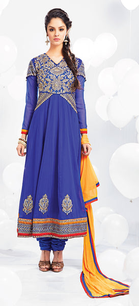 Embroidered Party Wear Anarkali:atisundar resplendent Blue embroidered Party Wear Anarkali - 7014 - atisundar - 3 - click to zoom