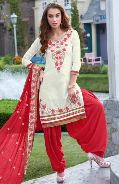 Designer Embroidered Straight Cut Suits:atisundar charming Off White Designer Straight Cut Embroidered Suits - 9529 - click to zoom