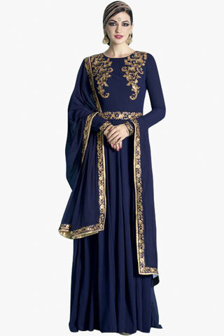 Designer Anarkali :atisundar stunning Navy Blue Designer Embroidered Party Wear Ready to Stitch Anarkali - 10503 - atisundar - 1 - click to zoom
