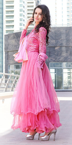 Designer Anarkali!:atisundar graceful Pink Anarkali - 8038 - atisundar - 2 - click to zoom