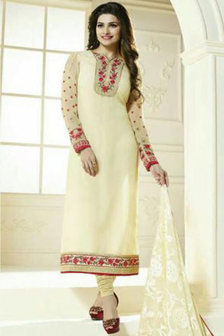 The Prachi Desai Collection:atisundar exquisite Cream Designer Embroidered Straight Cut Suits In Faux Georgette - 9588 - click to zoom