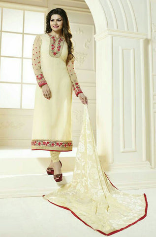 The Prachi Desai Collection:atisundar exquisite Cream Designer Embroidered Straight Cut Suits In Faux Georgette - 9588 - atisundar - 1 - click to zoom