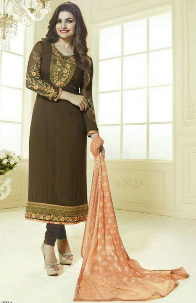 The Prachi Desai Collection:atisundar charming Brown Designer Embroidered Straight Cut Suits In Faux Georgette - 9590 - atisundar - 1 - click to zoom