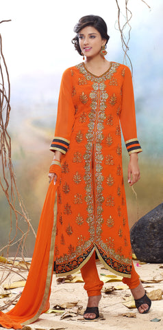 Designer Straight Cut Suit!:atisundar admirable Orange Designer Straight Cut  - 7122 - atisundar - 3 - click to zoom