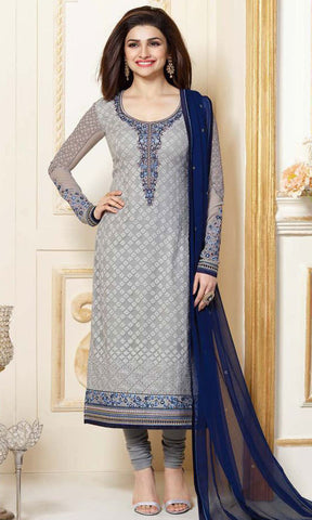 The Prachi Desai Collection:atisundar Attractive Grey Designer Embroidered Straight Cut Suits In Faux Georgette - 9754 - atisundar - 1 - click to zoom