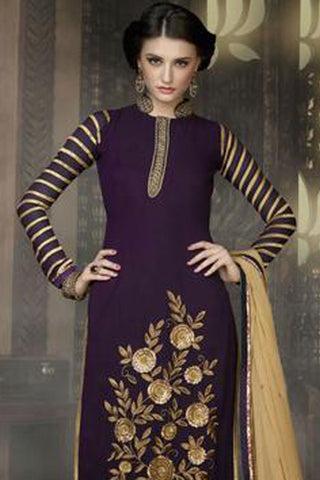 Designer Straight Cut:atisundar pretty Purple Designer Straight Cut  - 8399
