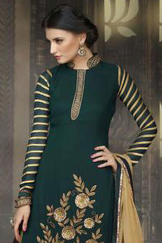 Designer Straight Cut:atisundar exquisite Sea Green Designer Straight Cut  - 8404