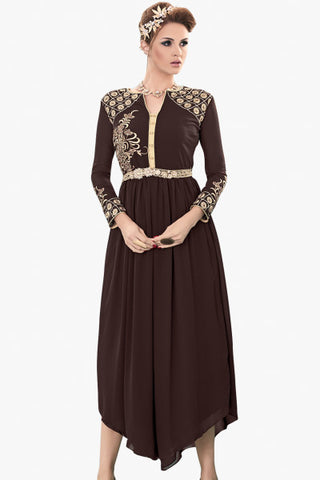 Designer Party Wear Top:atisundar excellent American Crepe Designer Top in American Crepe in Multi - 11594