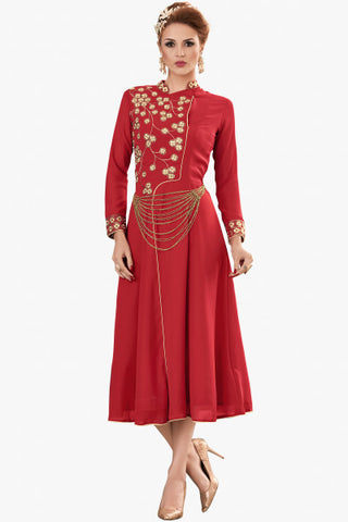 Designer Top:atisundar superb Faux Georgette Designer Party Wear Top in Embroidered Faux Georgette in Red - 11598