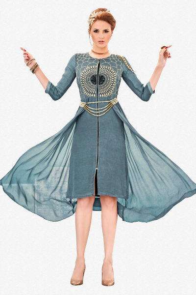 Designer Top:atisundar marvelous Faux Georgette Designer Party Wear Top in Embroidered Faux Georgette in Grey - 11606 - click to zoom