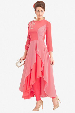 Designer Top:atisundar fair Faux Georgette Designer Party Wear Top in Embroidered Faux Georgette in Pink - 11627