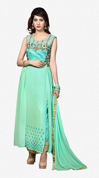 Designer Straight Cut:atisundar splendid Sea Green Designer Straight Cut  - 8626 - click to zoom