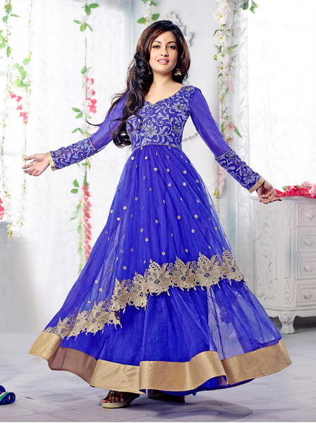 Designer Partywear Anarkali:atisundar Alluring Blue embroidered Party Wear Anarkali - 7148 - atisundar - 2 - click to zoom