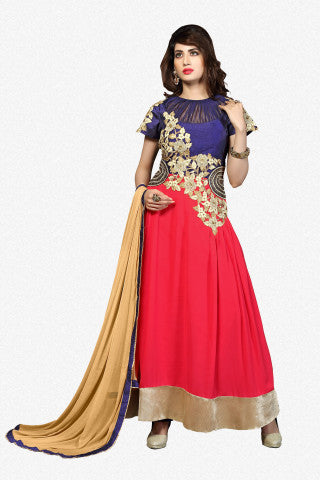 Designer Straight Cut:atisundar cute Pink And Blye Designer Straight Cut  - 8628 - atisundar - 1 - click to zoom