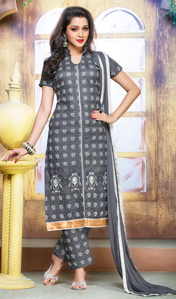 Designer Embroidered Straight Cut Suits:atisundar radiant Grey Designer Embroidered Suits - 9817 - atisundar - 1 - click to zoom