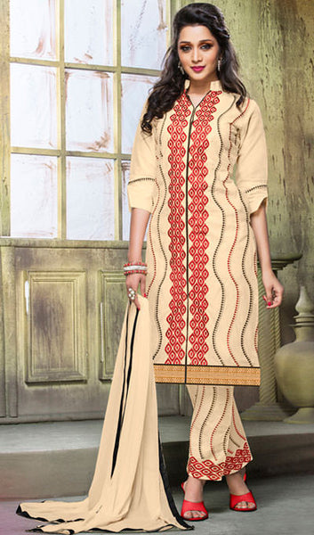Designer Embroidered Straight Cut Suits:atisundar enticing Cream Designer Embroidered Suits - 9818 - atisundar - 1 - click to zoom