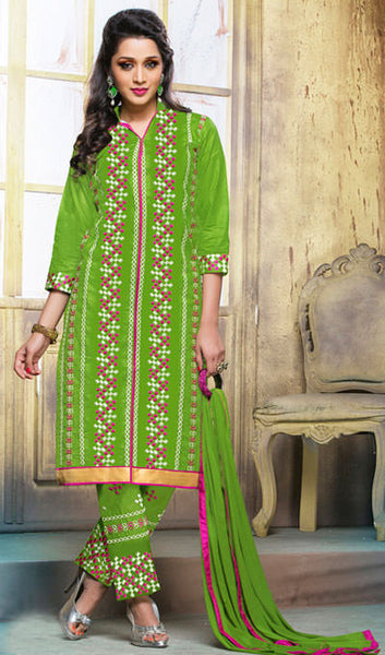 Designer Embroidered Straight Cut Suits:atisundar delicate Green Designer Embroidered Suits - 9826 - atisundar - 1 - click to zoom