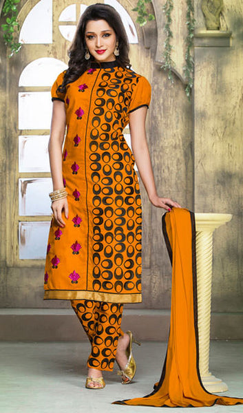 Designer Embroidered Straight Cut Suits:atisundar Charismatic Orange Designer Embroidered Suits - 9829 - atisundar - 1 - click to zoom