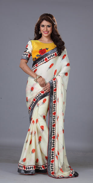 Designer Printed Saree!:atisundar ravishing Designer Printed Saree in White  - 7707 - atisundar - 2 - click to zoom