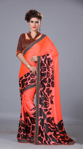 Designer Printed Saree!:atisundar resplendent Designer Printed Saree in Orange And Black  - 7718 - atisundar - 1 - click to zoom