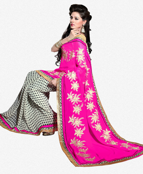 Designer Saree!:atisundar splendid Designer Party Wear Sarees in Pink And White  - 7501 - click to zoom