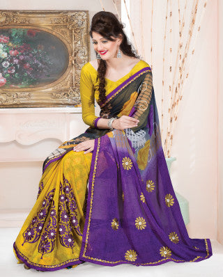 Designer Printed Saree:atisundar cute Designer Printed Saree in Yellow And Blue  - 7608 - atisundar - 1 - click to zoom