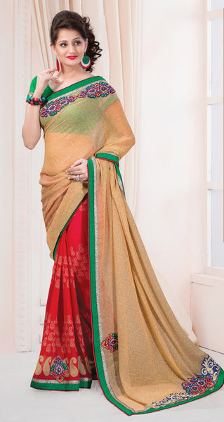 Designer Printed Saree:atisundar resplendent Designer Printed Saree in Beige And Red  - 7609 - atisundar - 2 - click to zoom
