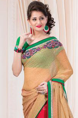 Designer Printed Saree:atisundar resplendent Designer Printed Saree in Beige And Red  - 7609