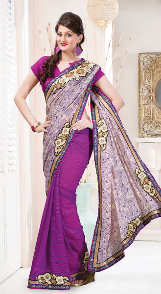 Designer Printed Saree:atisundar beauteous Designer Printed Saree in Off White And Purple  - 7610 - atisundar - 2 - click to zoom