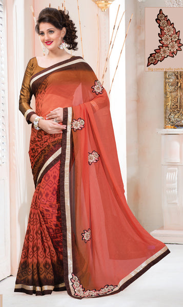 Designer Printed Saree:atisundar stunning Designer Printed Saree in Peach And Brown  - 7612 - click to zoom