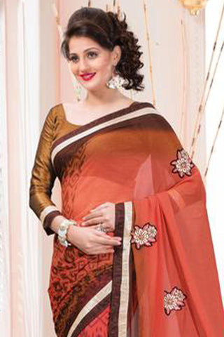 Designer Printed Saree:atisundar stunning Designer Printed Saree in Peach And Brown  - 7612