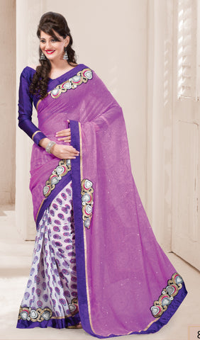 Designer Printed Saree:atisundar beauteous Designer Printed Saree in Purple And White  - 7613 - atisundar - 2
