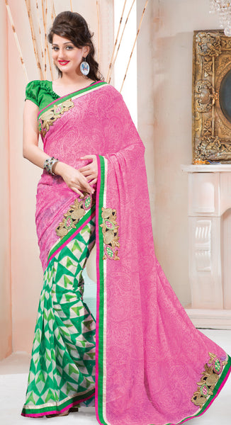 Designer Printed Saree:atisundar splendid Designer Printed Saree in Pink And Green  - 7616 - click to zoom