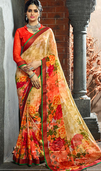 Designer Printed Saree:atisundar pretty Designer Printed Saree in Faux Georgette with Border in Pink  - 10062 - atisundar - 1 - click to zoom