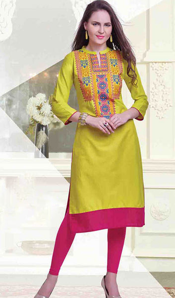 Designer Tops:atisundar refined Embroidered Rayon Cotton Embroidered Rayon Cotton Top in Yellow - 10261 - atisundar - 1 - click to zoom