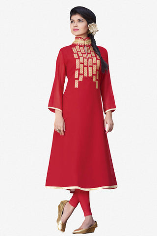 Designer Top:atisundar admirable Faux Georgette Designer Embroidered Party Wear Top in Red - 11003