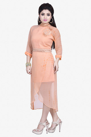 Designer Top:atisundar Alluring Bemberg Viscose Georgette Designer Embroidered Party Wear Top in Light Orange - 10963 - atisundar - 1 - click to zoom