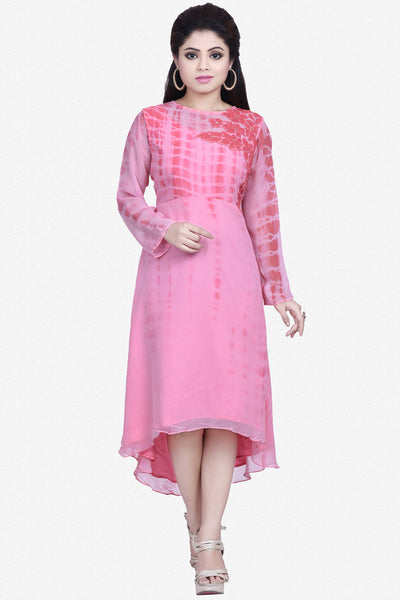 Designer Top:atisundar Superb Bemberg Viscose Georgette Designer Embroidered Party Wear Top in Pink - 10964 - atisundar - 1 - click to zoom