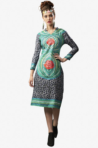 Designer Top:atisundar resplendent Satin Cotton Designer Printed Party Wear Top in Sea Green - 10829 - atisundar - 1 - click to zoom