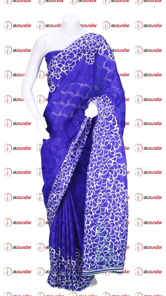 Designer Printed Saree:atisundar Beautiful Designer Printed Sarees In Net With Jecquard in Blue  - 10417 - atisundar - 1 - click to zoom