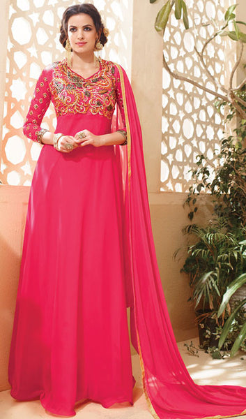 Designer Embroidered Suit:atisundar splendid Pink Embroidered Suits With Embroidered Back And Embroiderd Sleeves - 10455 - atisundar - 1 - click to zoom