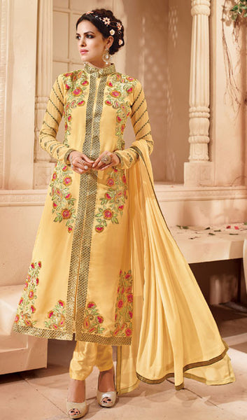 Designer Embroidered Suit:atisundar bewitching Light Yellow Embroidered Suits With Embroidered Back And Embroiderd Sleeves - 10457 - atisundar - 1 - click to zoom