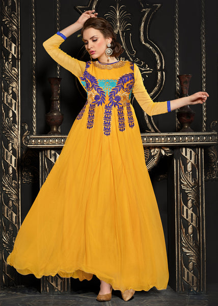 Gown Style Anarkali!:atisundar graceful Orange Anarkali - 7488 - atisundar - 1 - click to zoom