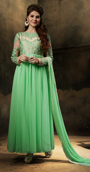 Designer Embroidered Anarkali:atisundar Lovely Light Green Embroidered Anarkali - 7795 - atisundar - 2 - click to zoom