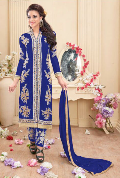 Designer Embroidered Staright Cut:atisundar Awesome Blue Designer Straight Cut  - 7818 - click to zoom
