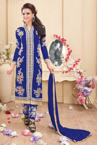 Designer Embroidered Staright Cut:atisundar Awesome Blue Designer Straight Cut  - 7818 - atisundar - 2