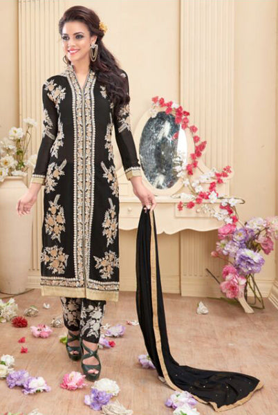 Designer Embroidered Staright Cut:atisundar beauteous Black Designer Straight Cut  - 7820 - atisundar - 2 - click to zoom