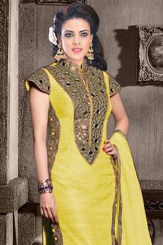 Designer Straight Cut:atisundar splendid Yellow Designer Straight Cut  - 7784